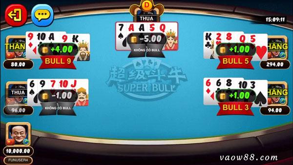 Giới thiệu game đánh bài Super Bull tại nhà cái W88