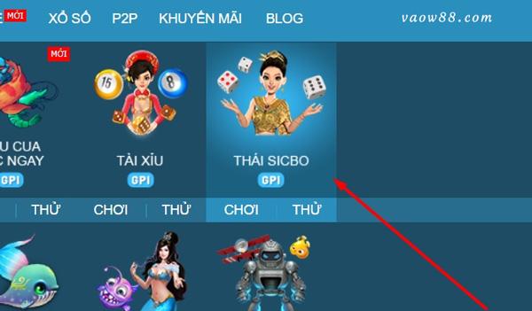 Truy cập vào game Thái Sicbo online