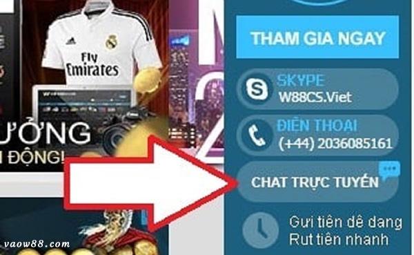 Khách hàng có thể chat trực tuyến tại vaow88.com