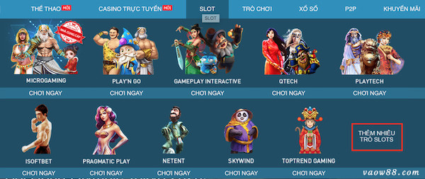 Chọn vào mục tìm thêm các thể loại game slot khác