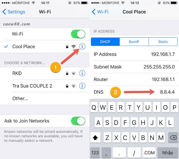 Cách thay đổi DNS trên hệ điều hành iOS