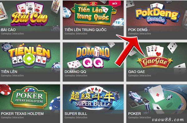 Các anh em truy cập vào game bài Pok Deng sau khi đăng nhập thành công