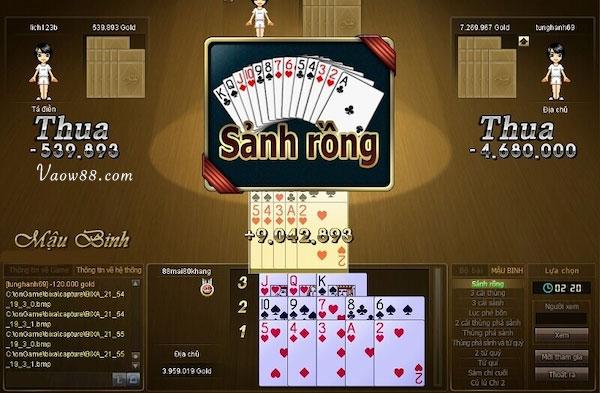 Sảnh rồng trong game bài Mậu Binh