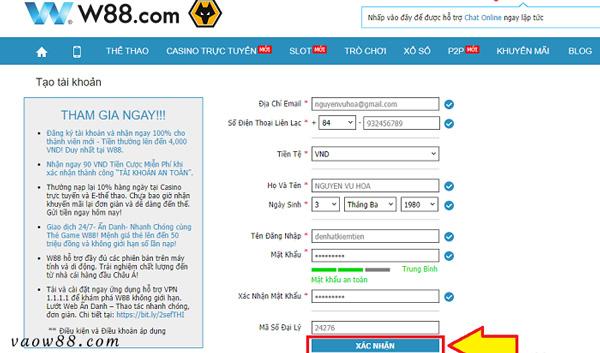 Nhập đầy đủ các thông tin cần thiết để đăng ký W88