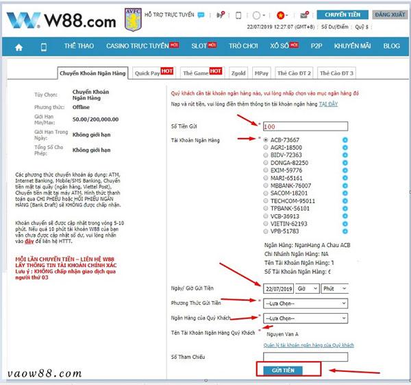Cách nạp tiền vào W88 vô cùng đơn giản và tiện lợi