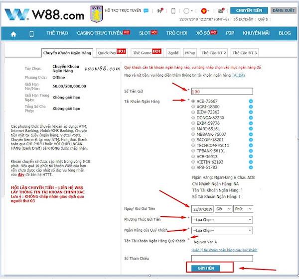 Hướng dẫn các bước chuyển khoản tại W88ac