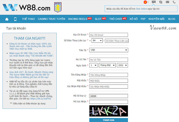 Hướng dẫn đăng ký tài khoản tại W88wap